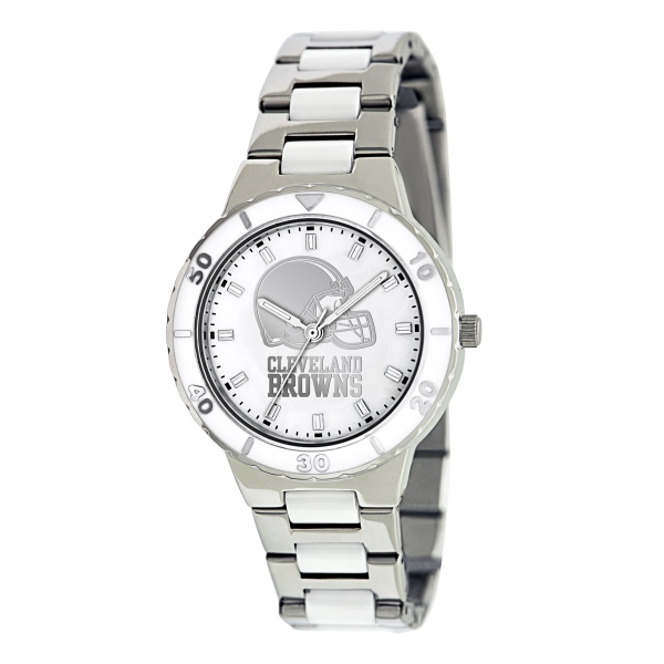 Cleveland Browns Silver Ladies Watch - Pearl