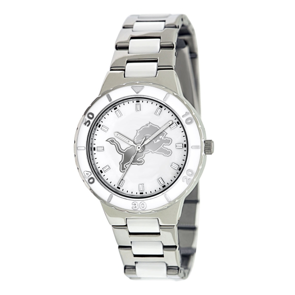 Detroit Lions Silver Ladies Watch - Pearl