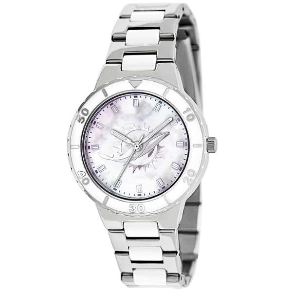 Miami Dolphins Silver Ladies Watch - Pearl