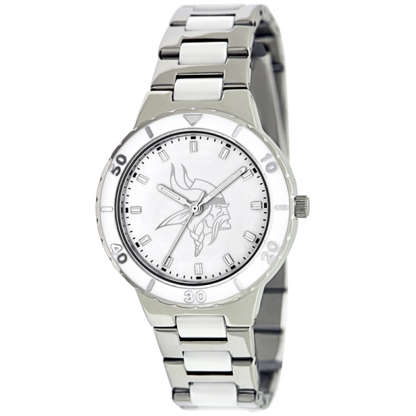 Minnesota Vikings Silver Ladies Watch - Pearl