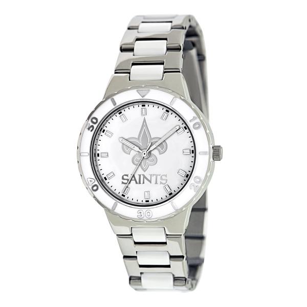 New Orleans Saints Silver Ladies Watch - Pearl