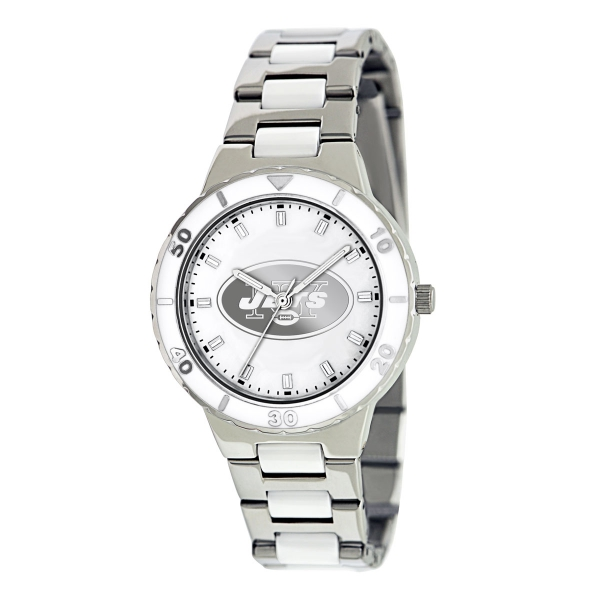 New York Jets Silver Ladies Watch - Pearl