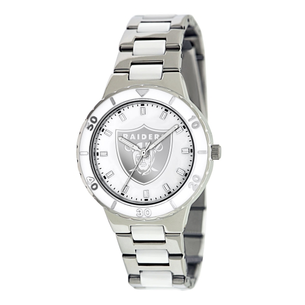 Oakland Raiders Silver Ladies Watch - Pearl