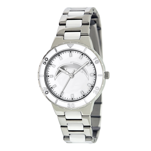 San Diego Chargers Silver Ladies Watch - Pearl