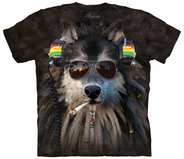 smoking rasta wolf shirt
